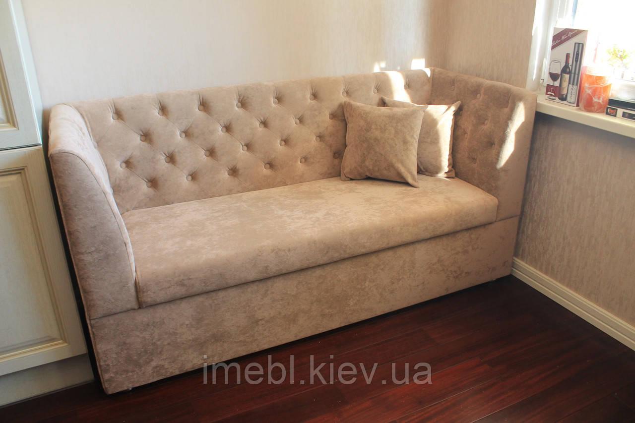 П-образный кухонный диван с ящиком (бежевый)