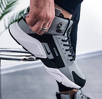 Зимние кроссовки Nike Huarache Winter grey/white термо 41-45рр. Живое фото (Реплика ААА+)