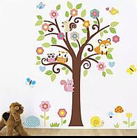"""Детская виниловая наклейка """"Дерево с лисой, совой и белкой ZY1008"""""""