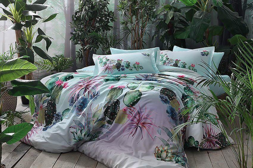 Двуспальное евро постельное белье TAC Cactus Сатин-Digital