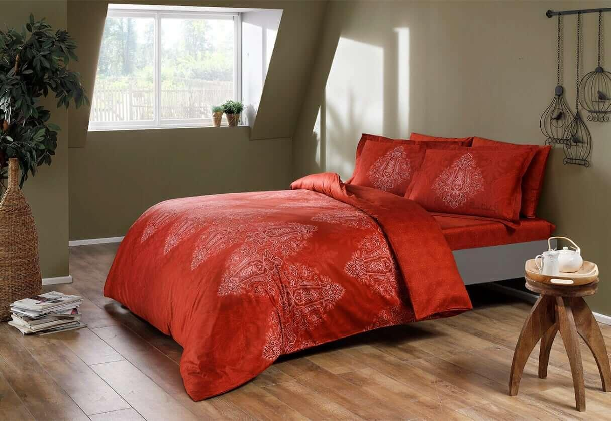 Двуспальное евро постельное белье TAC Caledon red Сатин-Digital