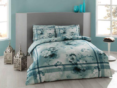 Двуспальное евро постельное белье Pierre Cardin Greta Blue Сатин-Digital
