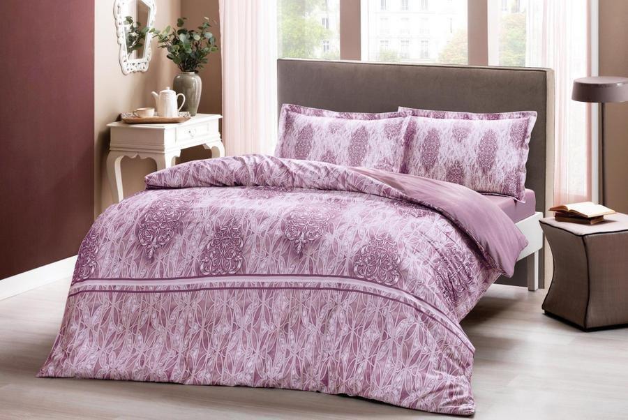 Двуспальное евро постельное белье TAC Elise pembe Сатин