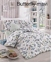 Двуспальное евро постельное белье Altinbasak Butterfly mavi Ранфорс