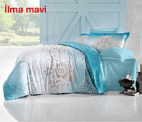 Двуспальное евро постельное белье Altinbasak Ilma mavi Сатин