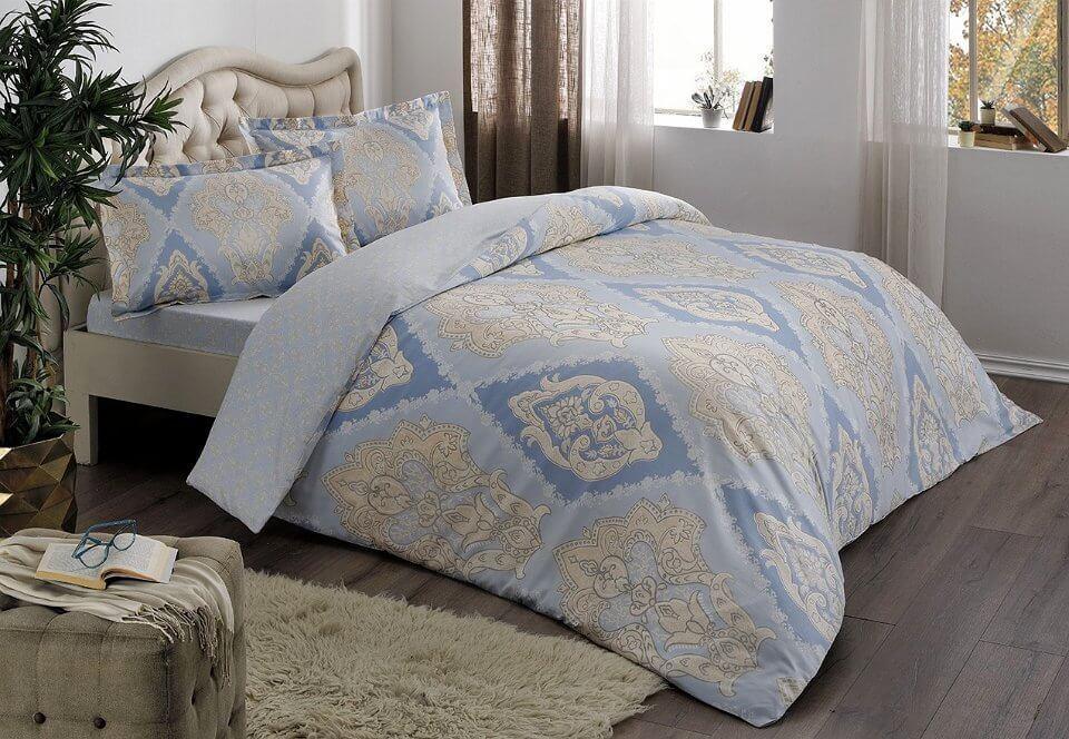 Двуспальное евро постельное белье TAC Vales Blue Сатин