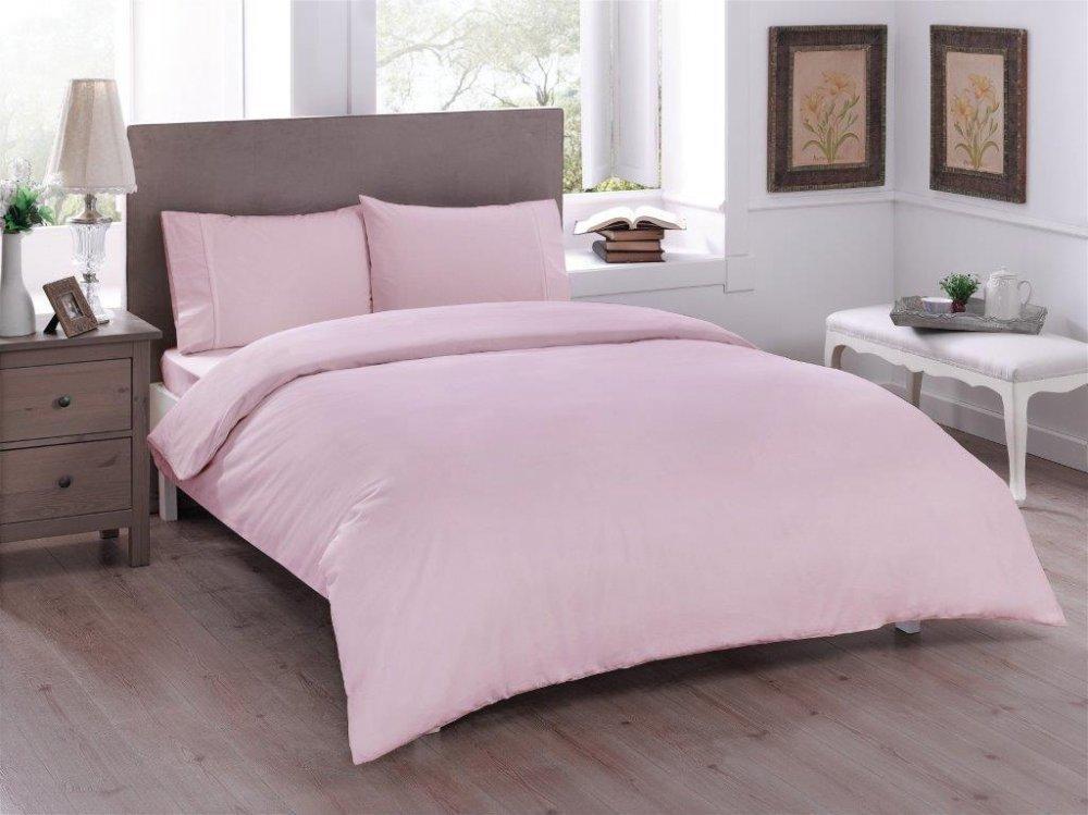 Двуспальное евро постельное белье TAC Basic Pink Ранфорс
