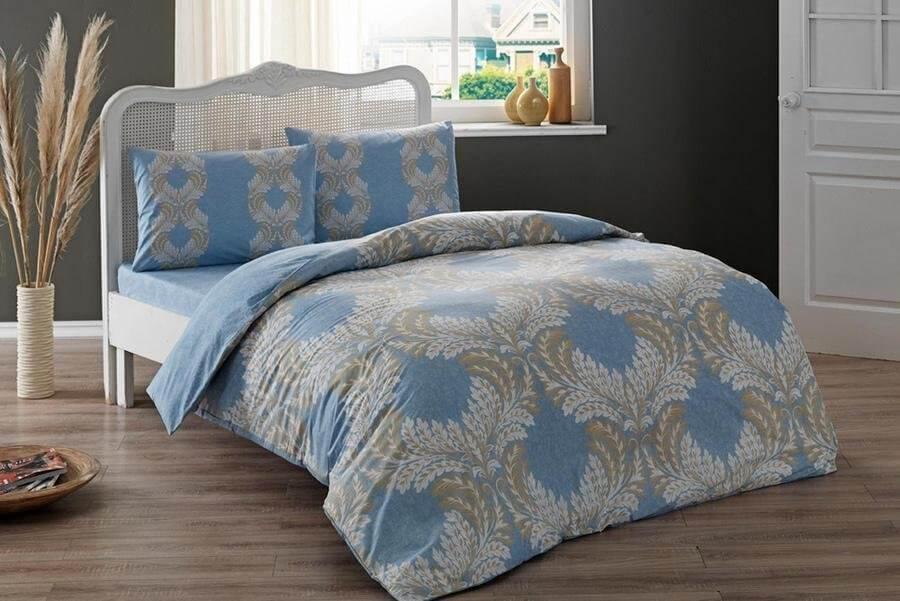 Двуспальное евро постельное белье TAC Dulce Blue Ранфорс