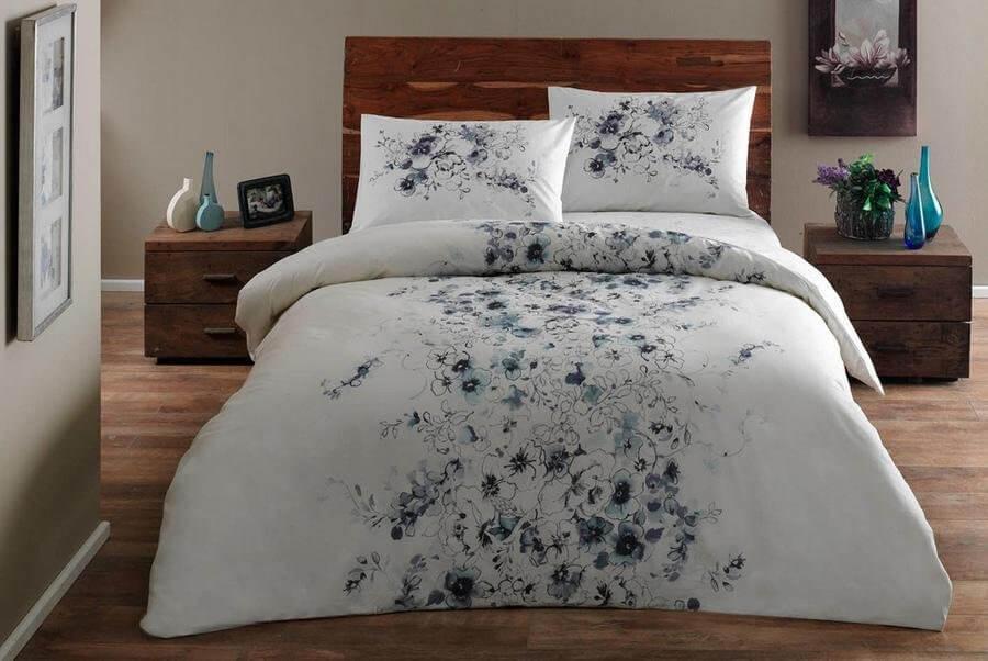 Двуспальное евро постельное белье TAC Divine Blue Ранфорс