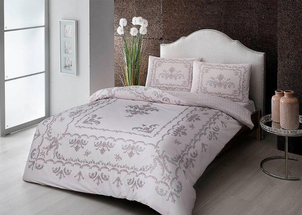 Двуспальное евро постельное белье TAC Royce Pink Ранфорс