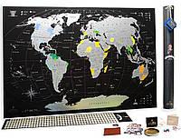 Стирающаяся скретч карта мира My Map Black edition Silver (английский язык) в тубусе