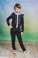 Школьная форма для девочек с брюками черная