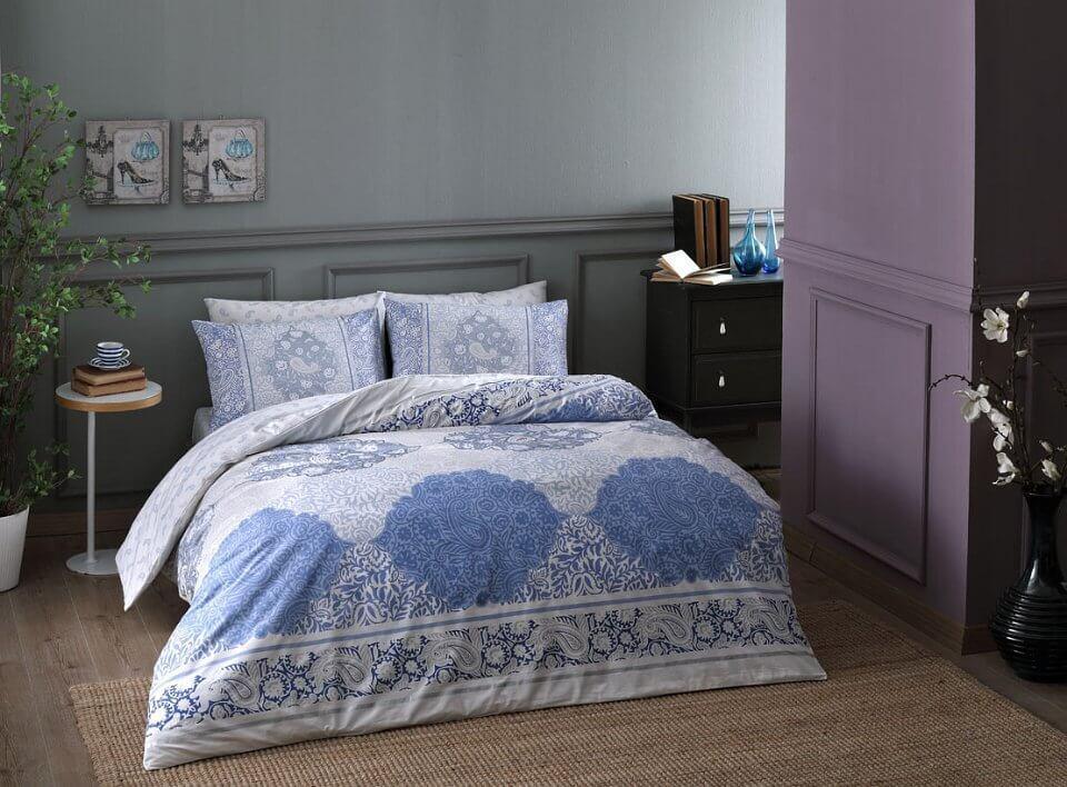 Двуспальный евро комплект TAC Aryan Blue Ранфорс