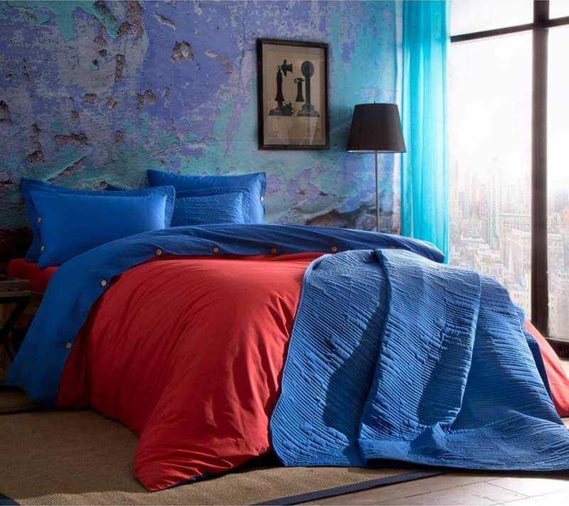 Двуспальный евро комплект TAC Colorful Red Ранфорс / простынь на резинке