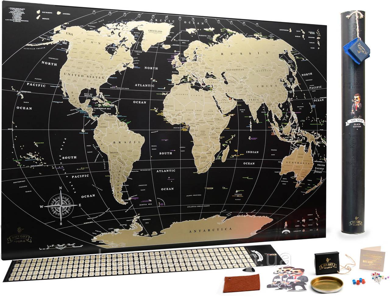 Стирающаяся скретч карта мира My Map Black edition Gold (английский язык) в тубусе
