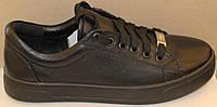 Кроссовки кожаные женские черные от производителя модель ГЖ1012