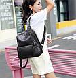 Рюкзак в комплекте косметичка / натуральная кожа (кт-2803) Черный, фото 4
