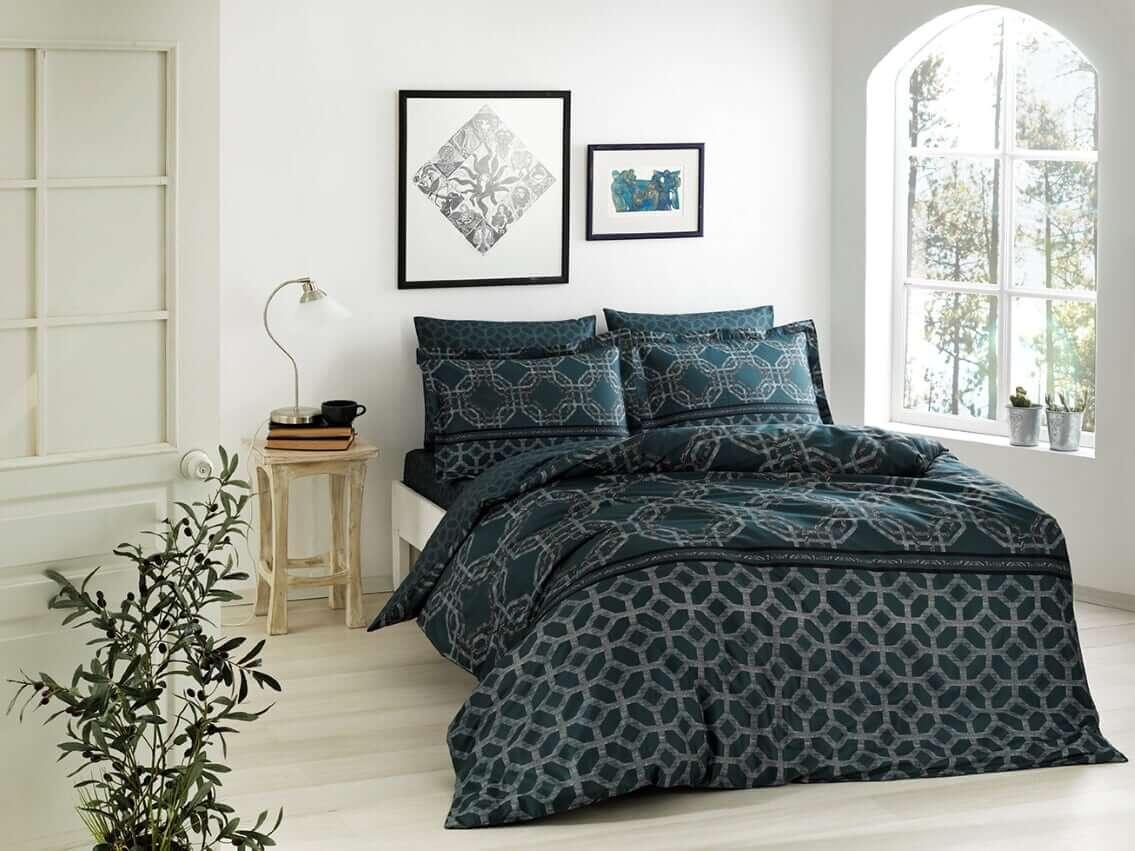 Двуспальное евро постельное белье TAC Lotus Petrol Сатин-Digital