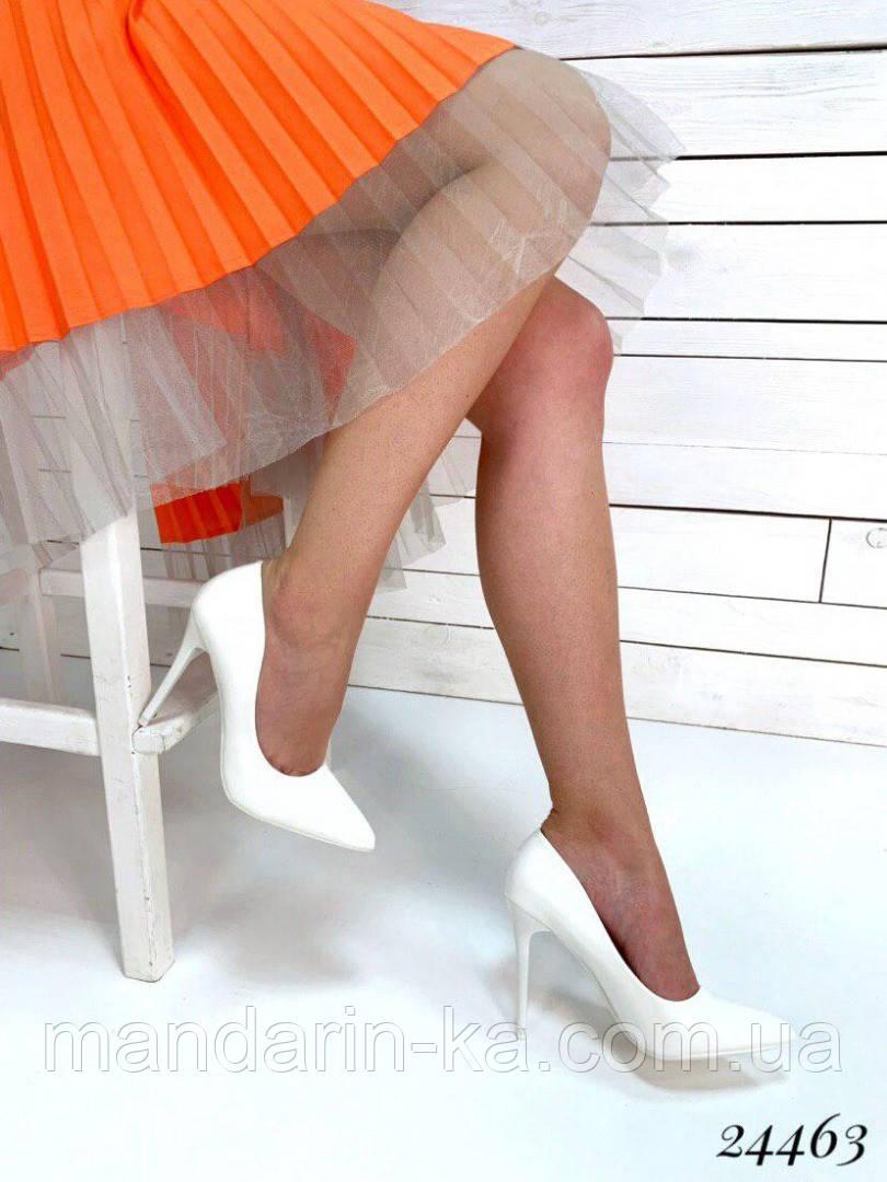 Туфли  женские  лодочки белые  шпилька 10,5 см