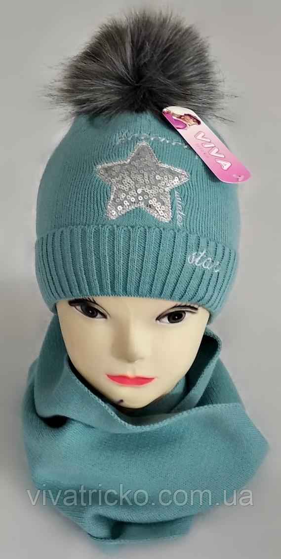 М 5059 Комплект для девочки шапка+хомут, кашемир,флис