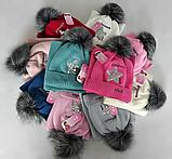 М 5059 Комплект для девочки шапка+хомут, кашемир, флис, фото 2