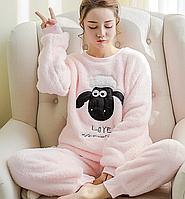"""Женская флисовая теплая пижама Fluffy Sheep """"Light Pink"""" розовая"""