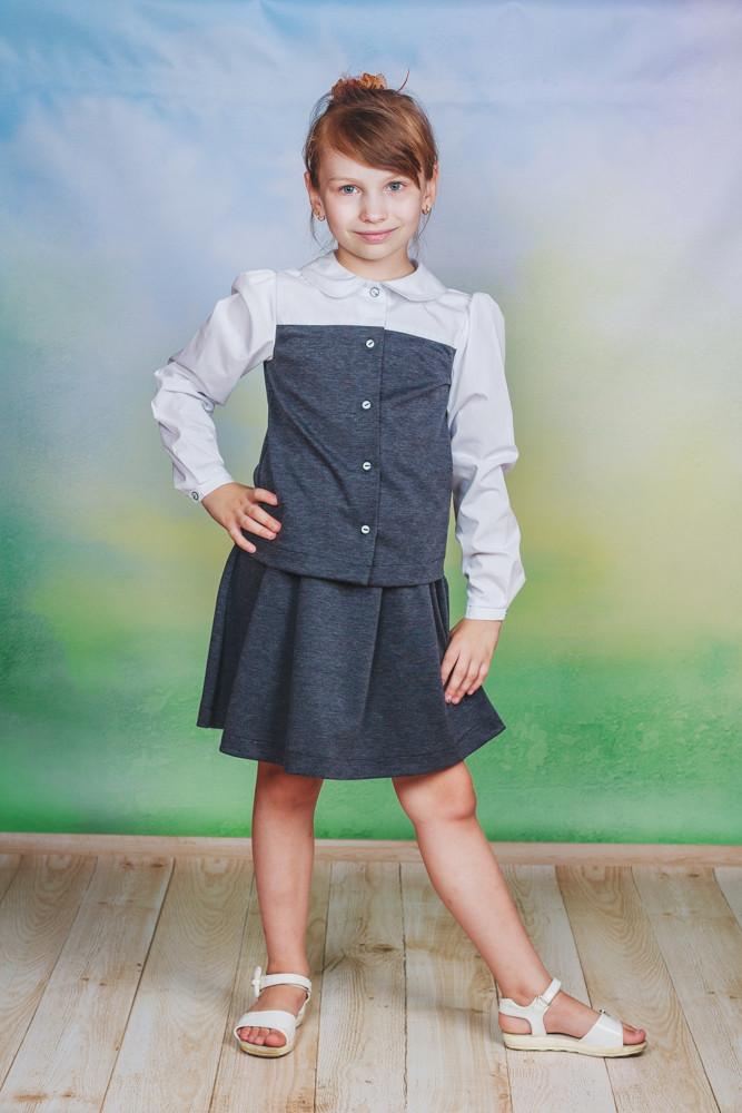 Школьный костюм для девочки серый