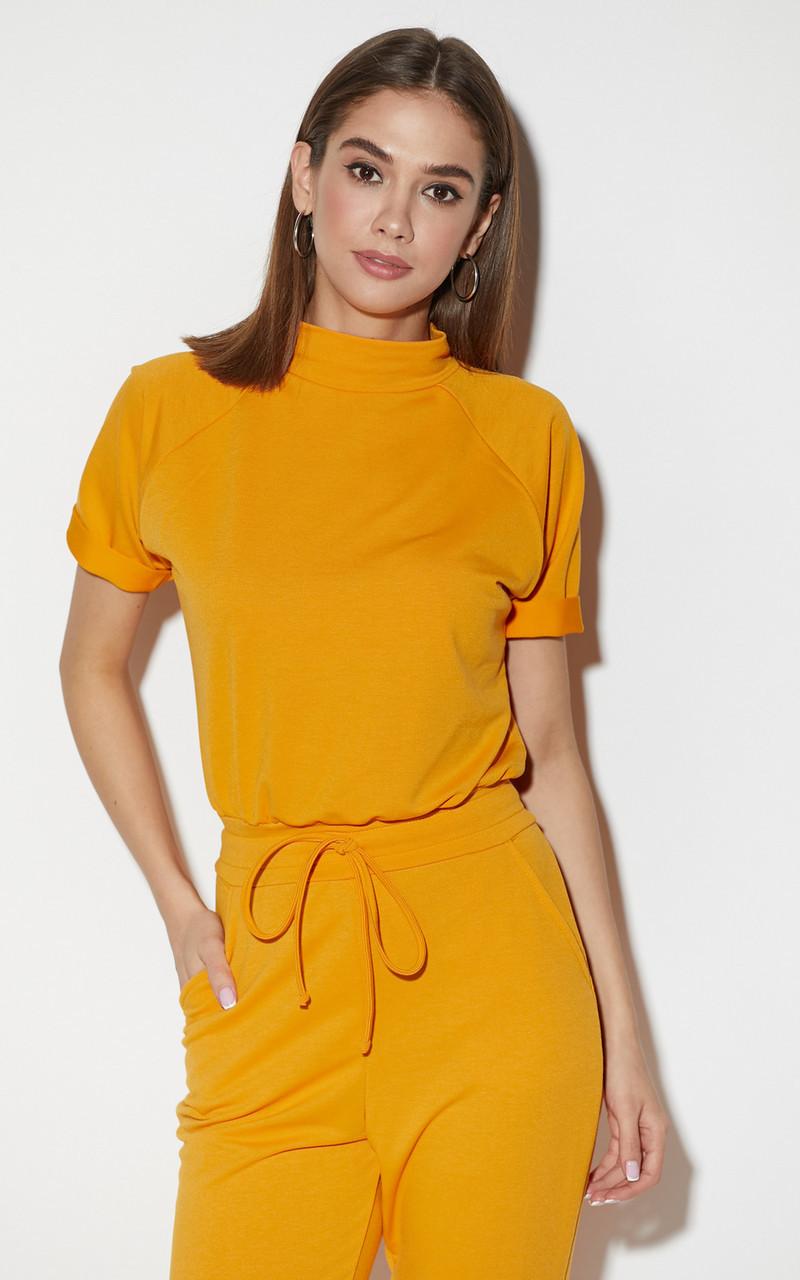 Комбинезон женский с коротким рукавом желтый