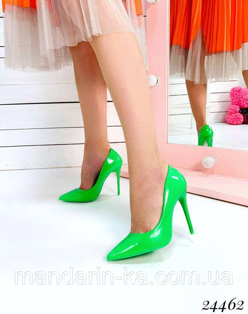Туфли  женские  лодочки салатовые шпилька 10,5 см