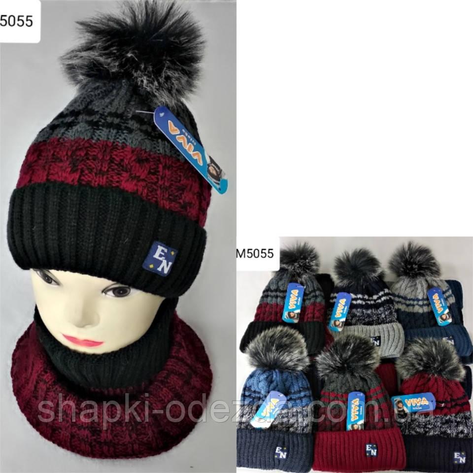 Вязаная шапка + баф для мальчика на флисе на 3-12 лет оптом