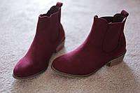 Женские ботинки ковбойки Европа бургунд каблук замша  38 - 41