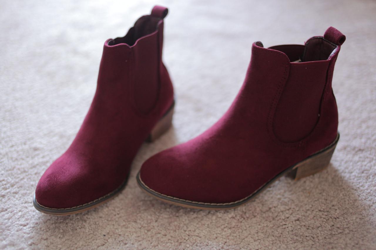 Женские ботинки ковбойки замшевые цвета бургунд 38-41