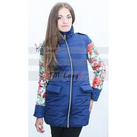 Демисезонное пальто-дутик, комбинированное