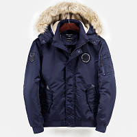 Куртка бомбер мужская осень зима бренд City Channel (Канада) размер 48 темно синяя 03007/013