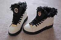 Женские ботинки черно-белые мех каракуль осень зима Curly серебро 36-41 хит!