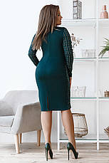 Приталенное комфортное платье, №150, бутылка, фото 2