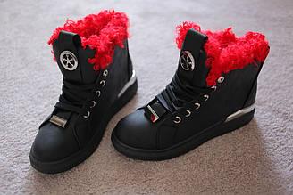 Женские ботинки черные с красной опушкой каракуль 36-40