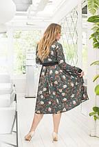 """Элегантное миди-платье в цветочек """"Debra"""" с завышенной талией (большие размеры), фото 2"""