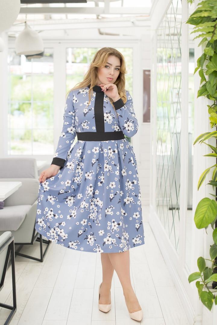 """Элегантное миди-платье в цветочек """"Debra"""" с завышенной талией (большие размеры)"""