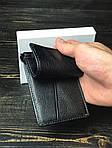 Мужской кошелек из натуральной кожи с держателем для денег (черный), фото 6