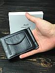 Мужской кошелек из натуральной кожи с держателем для денег (черный), фото 2