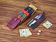 Шкіряний затиск для грошей універсальний на кнопці, фото 5