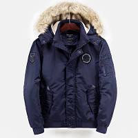 Куртка бомбер мужская осень зима бренд City Channel (Канада) размер 52 темно синяя 03007/015