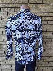 Рубашка мужская коттоновая стрейчевая брендовая высокого качества, маленький размер ONLINE, Турция, фото 2