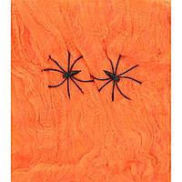Паутина оранжевая с двумя паучками, 20 г