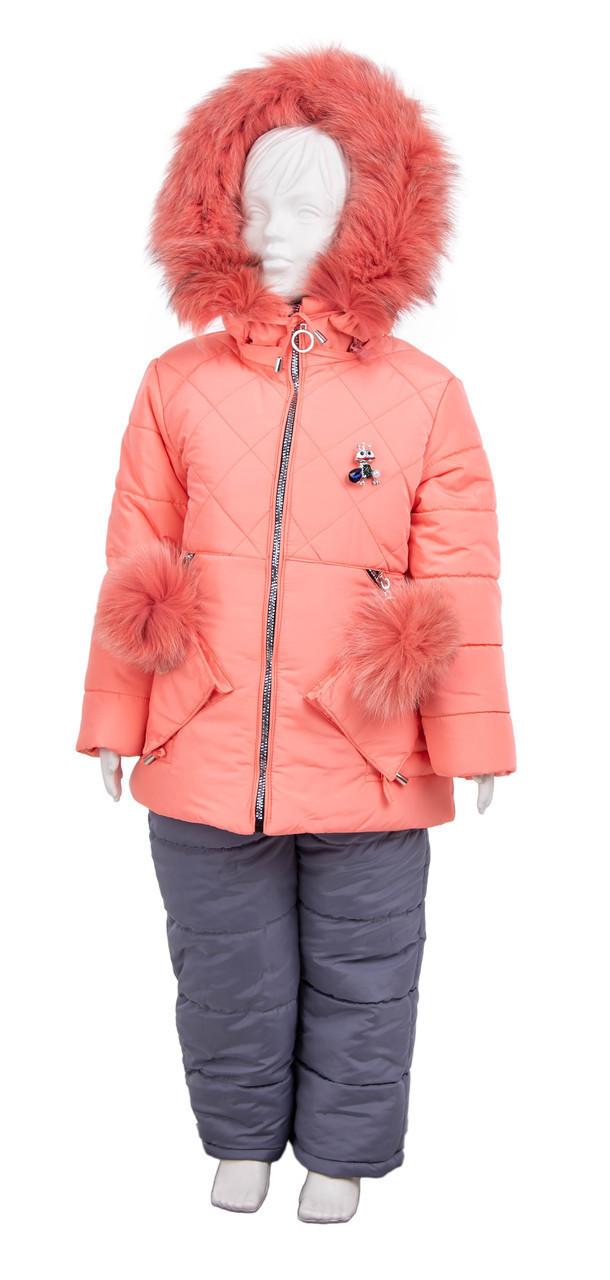 Детский зимний костюм для девочки 22-28 персик