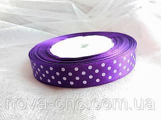 """Ленты  атлас """"Горох""""  фиолетовый 1,5 см"""