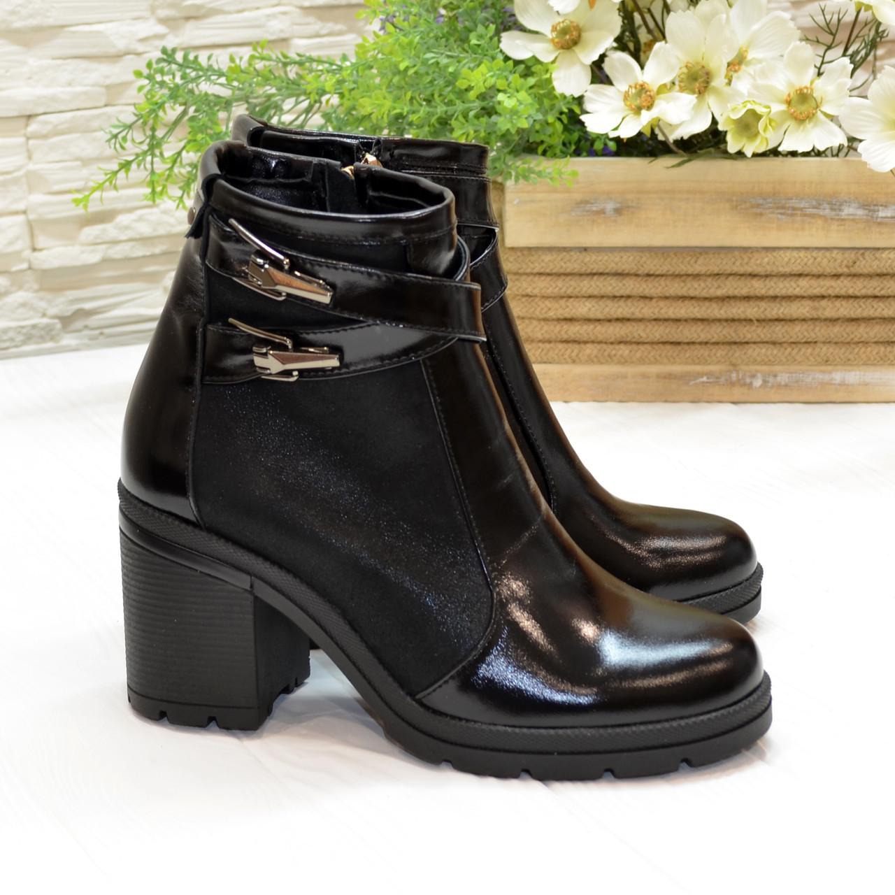 Ботинки зимние комбинированные на каблуке, цвет черный