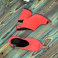 Женские замшевые босоножки на устойчивом каблуке, цвет красный