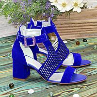 Стильные женские замшевые босоножки на невысоком устойчивом каблуке, цвет электрик